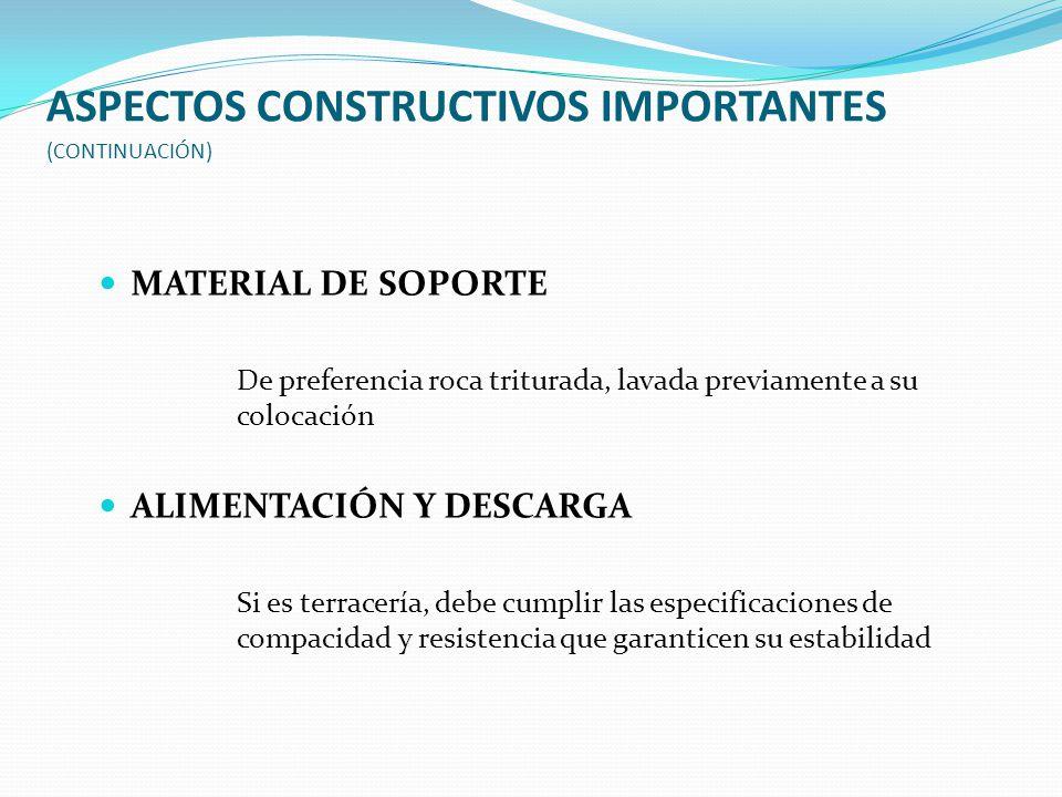 ASPECTOS CONSTRUCTIVOS IMPORTANTES (CONTINUACIÓN) MATERIAL DE SOPORTE De preferencia roca triturada, lavada previamente a su colocación ALIMENTACIÓN Y