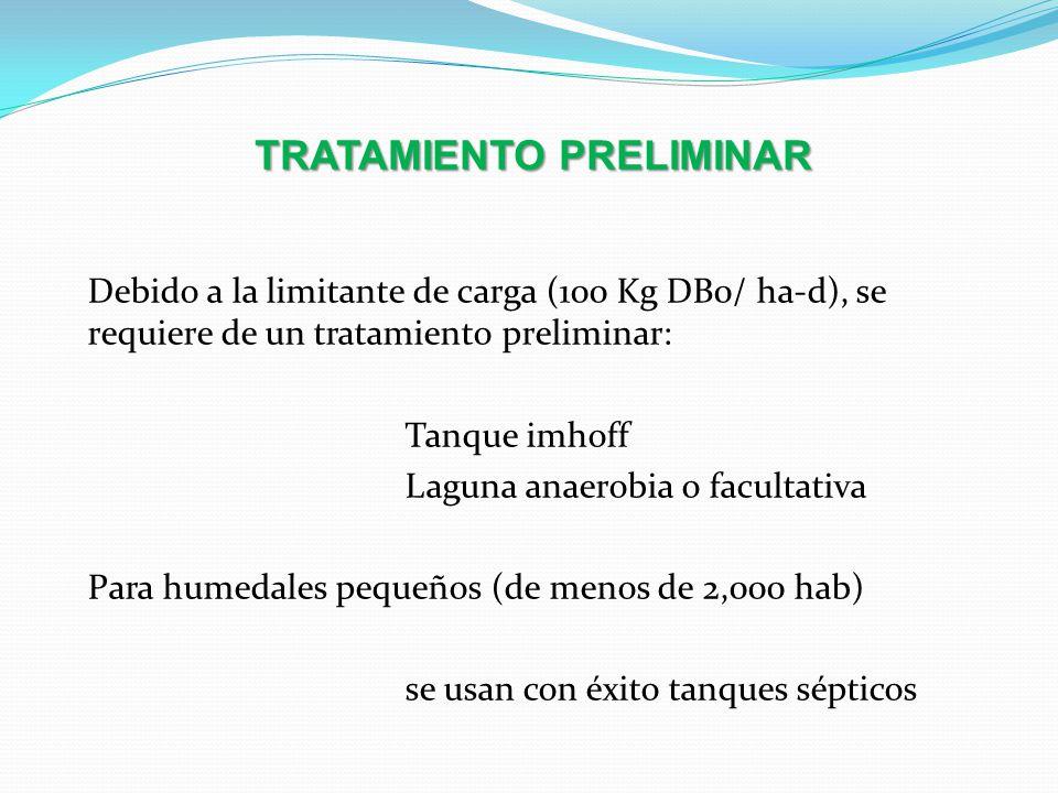 TRATAMIENTO PRELIMINAR Debido a la limitante de carga (100 Kg DB0/ ha-d), se requiere de un tratamiento preliminar: Tanque imhoff Laguna anaerobia o f