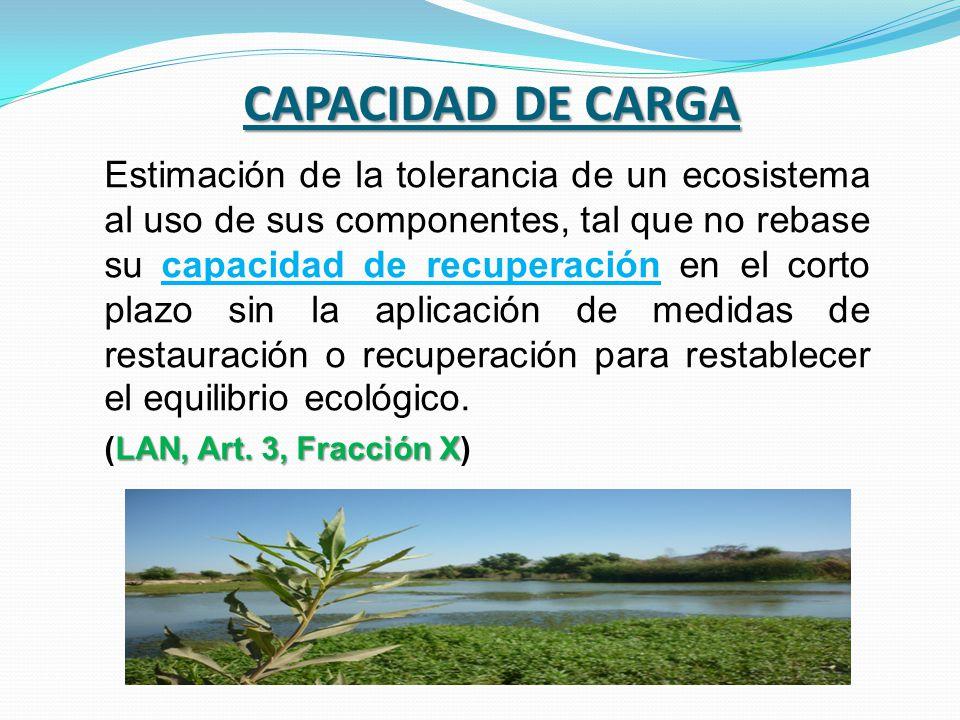 CAPACIDAD DE CARGA Estimación de la tolerancia de un ecosistema al uso de sus componentes, tal que no rebase su capacidad de recuperación en el corto
