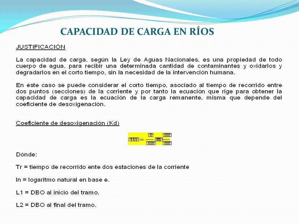 CAPACIDAD DE CARGA EN RÍOS