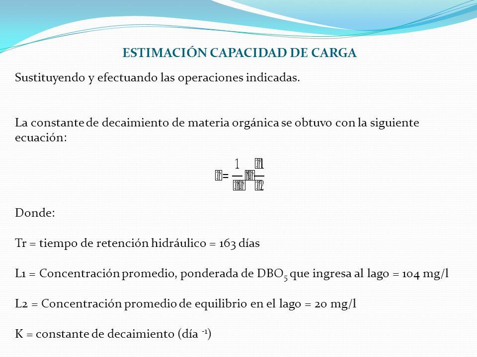 Sustituyendo y efectuando las operaciones indicadas. La constante de decaimiento de materia orgánica se obtuvo con la siguiente ecuación: Donde: Tr =