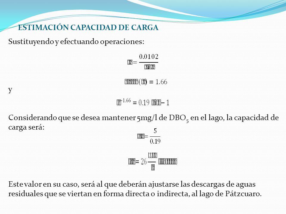 Sustituyendo y efectuando operaciones: y Considerando que se desea mantener 5mg/l de DBO 5 en el lago, la capacidad de carga será: Este valor en su ca
