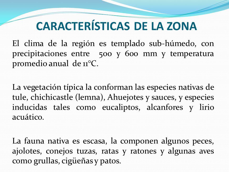 CARACTERÍSTICAS DE LA ZONA El clima de la región es templado sub-húmedo, con precipitaciones entre 500 y 600 mm y temperatura promedio anual de 11°C.
