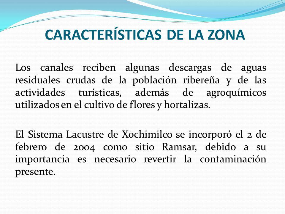 CARACTERÍSTICAS DE LA ZONA Los canales reciben algunas descargas de aguas residuales crudas de la población ribereña y de las actividades turísticas,