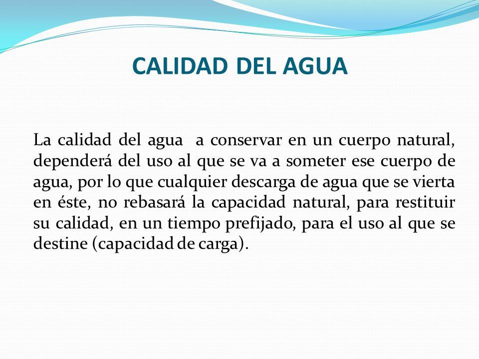 CALIDAD DEL AGUA La calidad del agua a conservar en un cuerpo natural, dependerá del uso al que se va a someter ese cuerpo de agua, por lo que cualqui