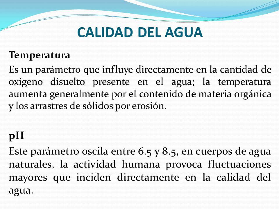 CALIDAD DEL AGUA Temperatura Es un parámetro que influye directamente en la cantidad de oxígeno disuelto presente en el agua; la temperatura aumenta g