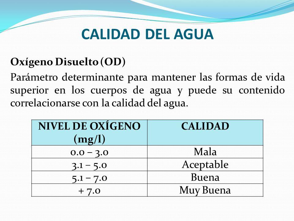 CALIDAD DEL AGUA Oxígeno Disuelto (OD) Parámetro determinante para mantener las formas de vida superior en los cuerpos de agua y puede su contenido co