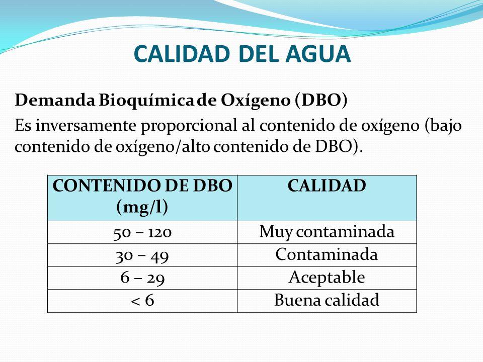 CALIDAD DEL AGUA Demanda Bioquímica de Oxígeno (DBO) Es inversamente proporcional al contenido de oxígeno (bajo contenido de oxígeno/alto contenido de