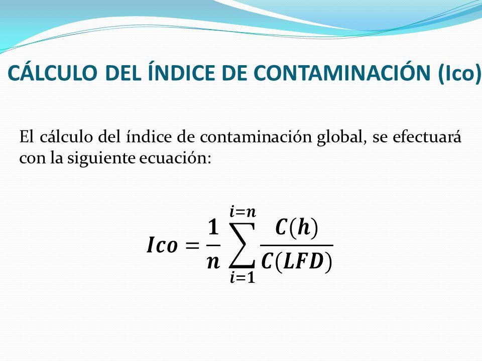 CÁLCULO DEL ÍNDICE DE CONTAMINACIÓN (Ico) El cálculo del índice de contaminación global, se efectuará con la siguiente ecuación: