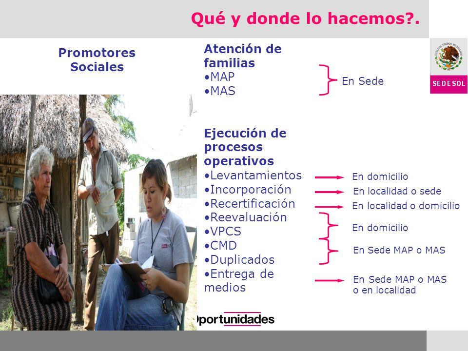 Promotores Sociales Atención de familias MAP MAS Ejecución de procesos operativos Levantamientos Incorporación Recertificación Reevaluación VPCS CMD D