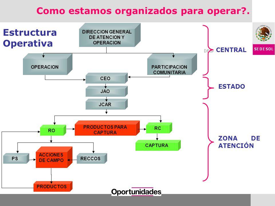 CENTRAL ESTADO ZONA DE ATENCIÓN Estructura Operativa CEO OPERACIONPARTICIPACION COMUNITARIA RO DIRECCION GENERAL DE ATENCION Y OPERACION JAO JCAR RC P
