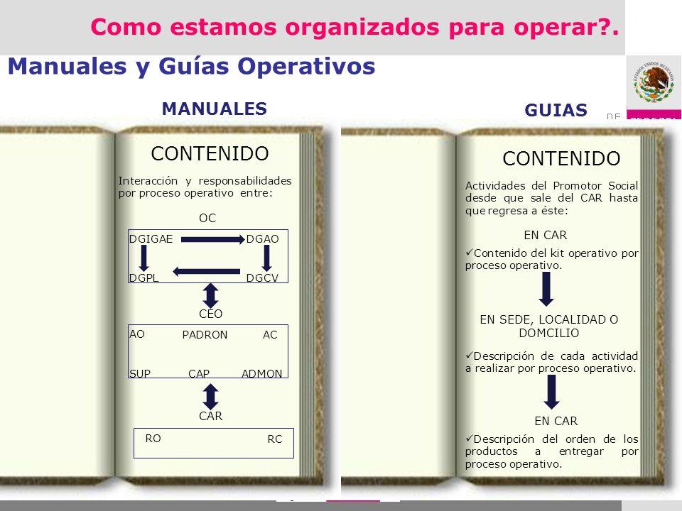Manuales y Guías Operativos CONTENIDO Interacción y responsabilidades por proceso operativo entre: OC DGIGAE DGAO DGCVDGPL AO AC ADMONSUP CEO PADRON C