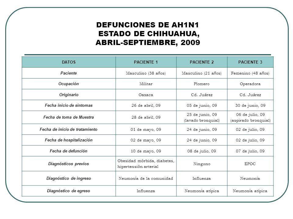 DEFUNCIONES DE AH1N1 ESTADO DE CHIHUAHUA, ABRIL-SEPTIEMBRE, 2009 DATOSPACIENTE 1PACIENTE 2PACIENTE 3 Paciente Masculino (38 a ñ os)Masculino (21 a ñ os)Femenino (48 a ñ os) Ocupación MilitarPlomeroOperadora Originario OaxacaCd.