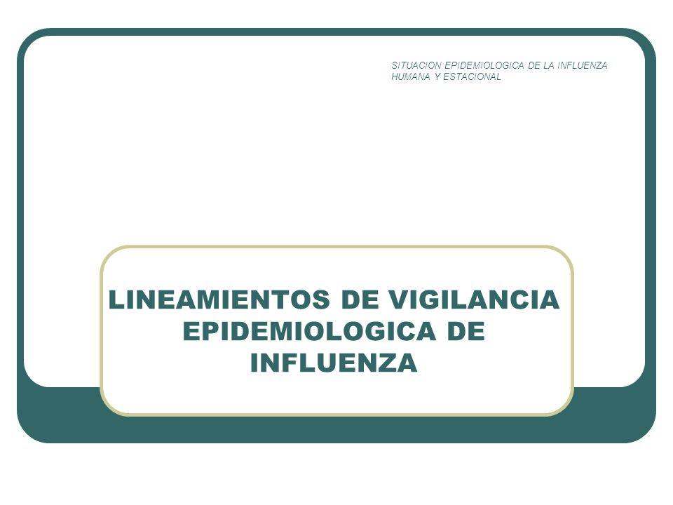 LINEAMIENTOS DE VIGILANCIA EPIDEMIOLOGICA DE INFLUENZA SITUACION EPIDEMIOLOGICA DE LA INFLUENZA HUMANA Y ESTACIONAL