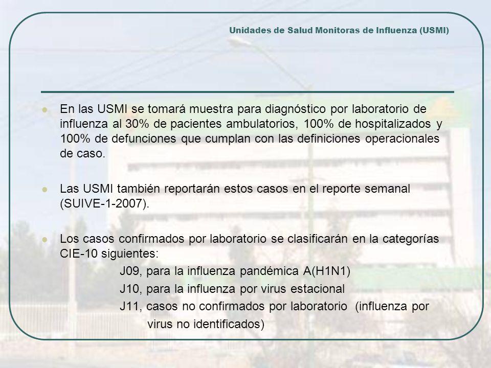 En las USMI se tomará muestra para diagnóstico por laboratorio de influenza al 30% de pacientes ambulatorios, 100% de hospitalizados y 100% de defunciones que cumplan con las definiciones operacionales de caso.