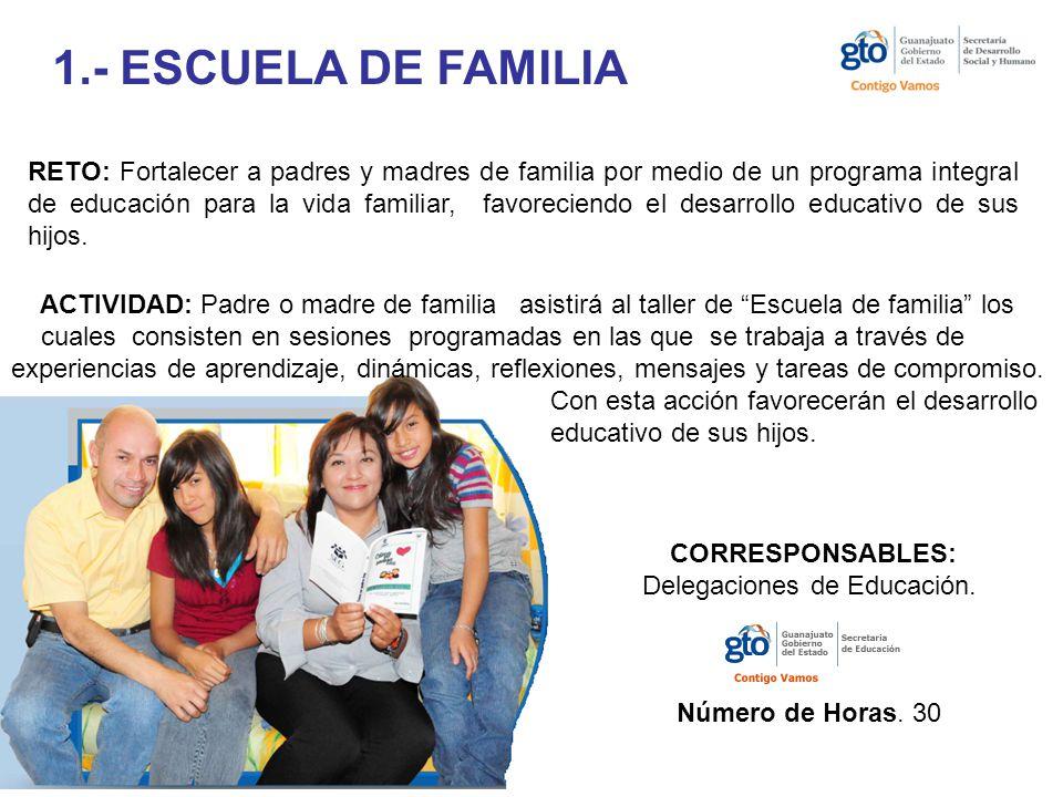 1.- ESCUELA DE FAMILIA RETO: Fortalecer a padres y madres de familia por medio de un programa integral de educación para la vida familiar, favoreciendo el desarrollo educativo de sus hijos.