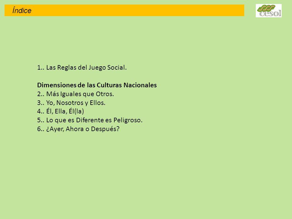 1..Las Reglas del Juego Social. Dimensiones de las Culturas Nacionales 2..
