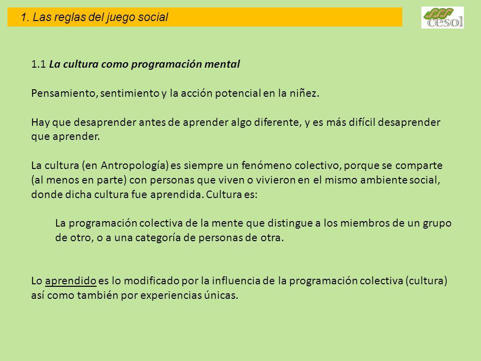 1.1 La cultura como programación mental Pensamiento, sentimiento y la acción potencial en la niñez.