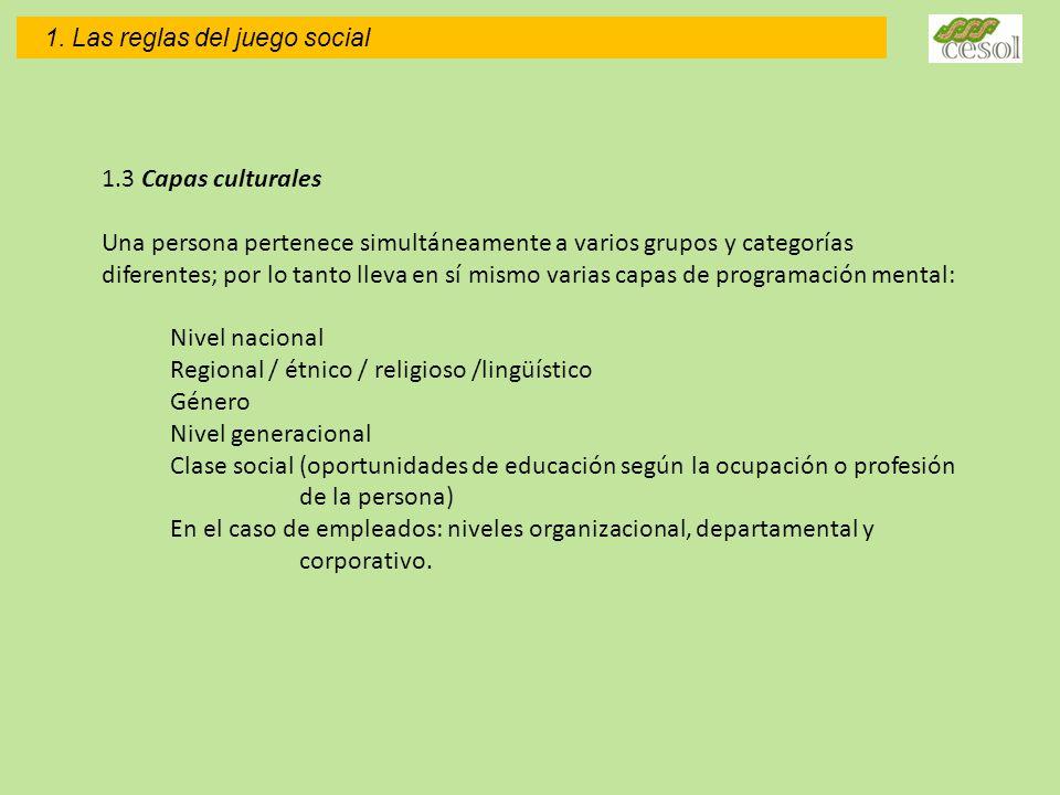 1.3 Capas culturales Una persona pertenece simultáneamente a varios grupos y categorías diferentes; por lo tanto lleva en sí mismo varias capas de pro