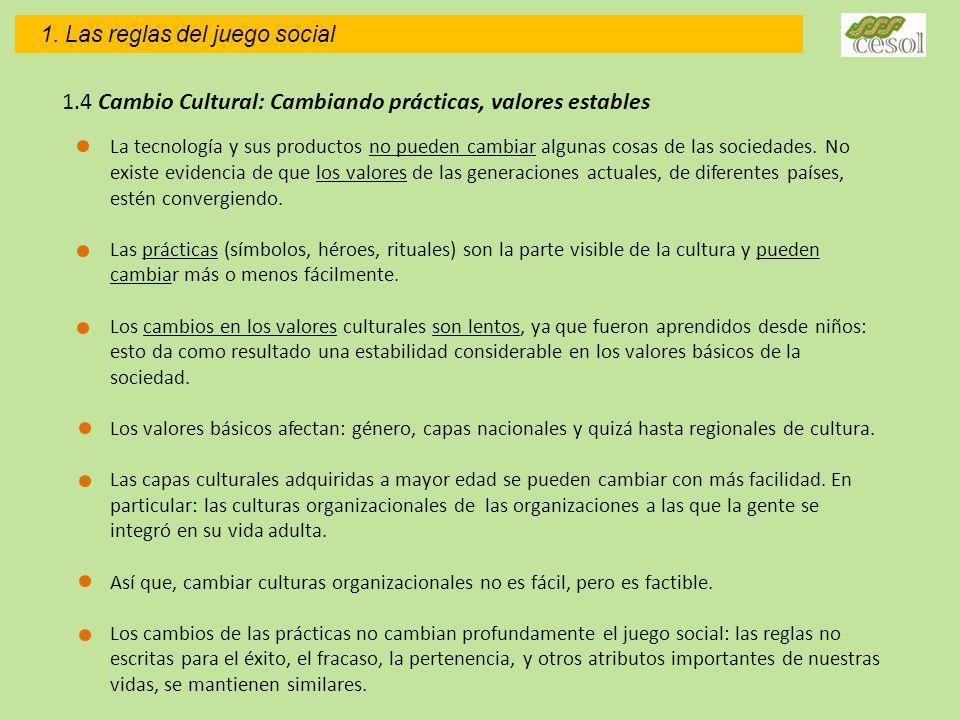 1. Las reglas del juego social 1.4 Cambio Cultural: Cambiando prácticas, valores estables La tecnología y sus productos no pueden cambiar algunas cosa