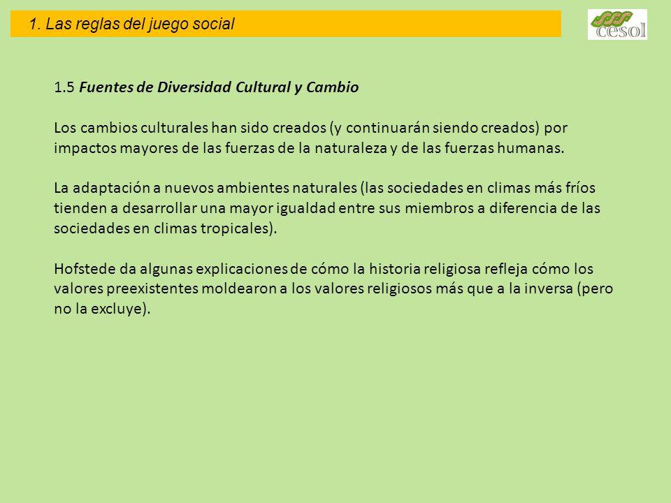 1. Las reglas del juego social 1.5 Fuentes de Diversidad Cultural y Cambio Los cambios culturales han sido creados (y continuarán siendo creados) por