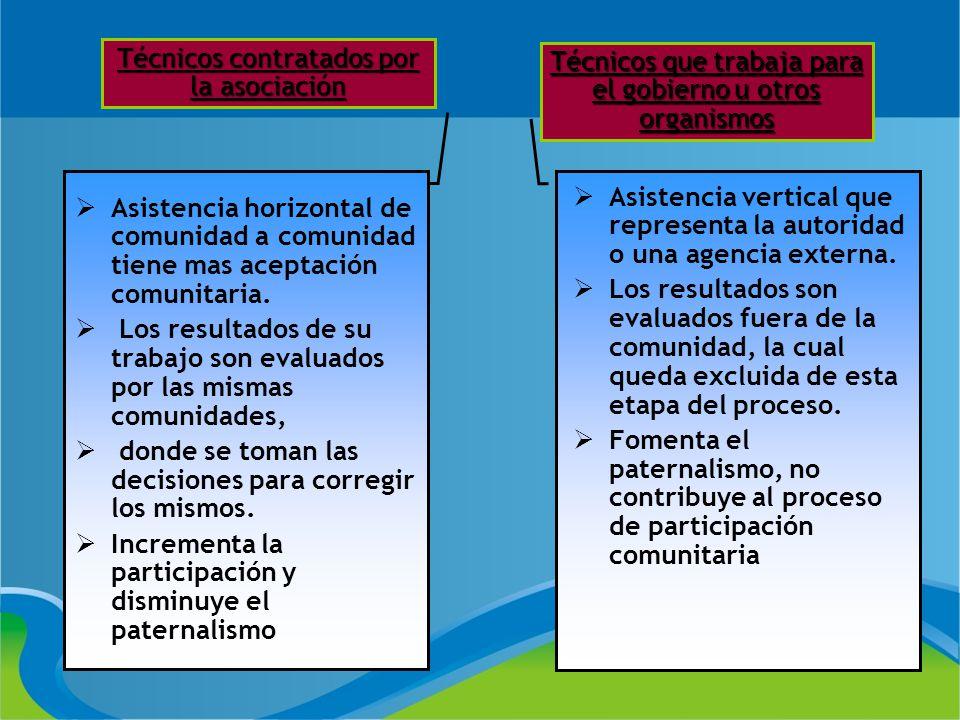 Técnicos contratados por la asociación Técnicos que trabaja para el gobierno u otros organismos Asistencia vertical que representa la autoridad o una