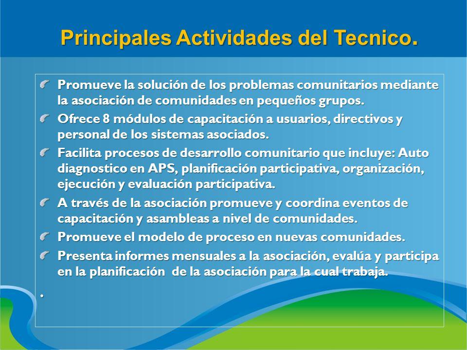 Principales Actividades del Tecnico. Promueve la solución de los problemas comunitarios mediante la asociación de comunidades en pequeños grupos. Ofre