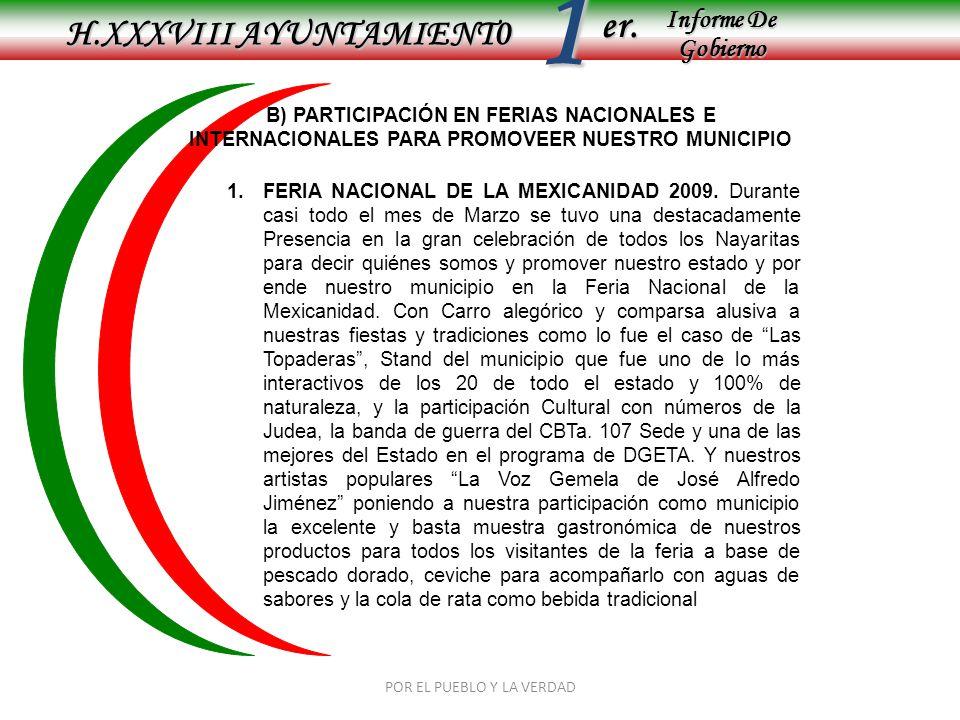 Informe De Gobierno Informe De Gobierno er.1 H.XXXVIII AYUNTAMIENT0 POR EL PUEBLO Y LA VERDAD B) PARTICIPACIÓN EN FERIAS NACIONALES E INTERNACIONALES