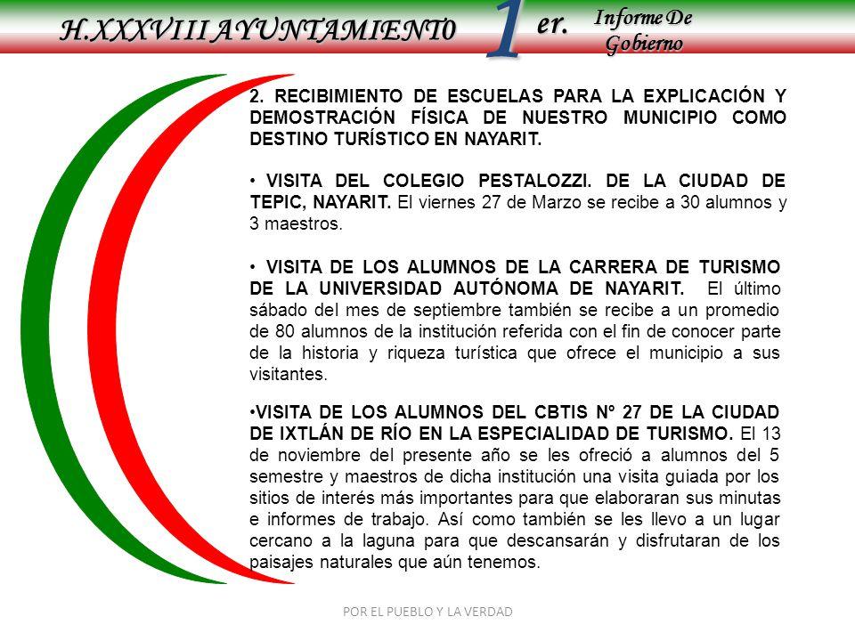 Informe De Gobierno Informe De Gobierno er.1 H.XXXVIII AYUNTAMIENT0 POR EL PUEBLO Y LA VERDAD 2. RECIBIMIENTO DE ESCUELAS PARA LA EXPLICACIÓN Y DEMOST