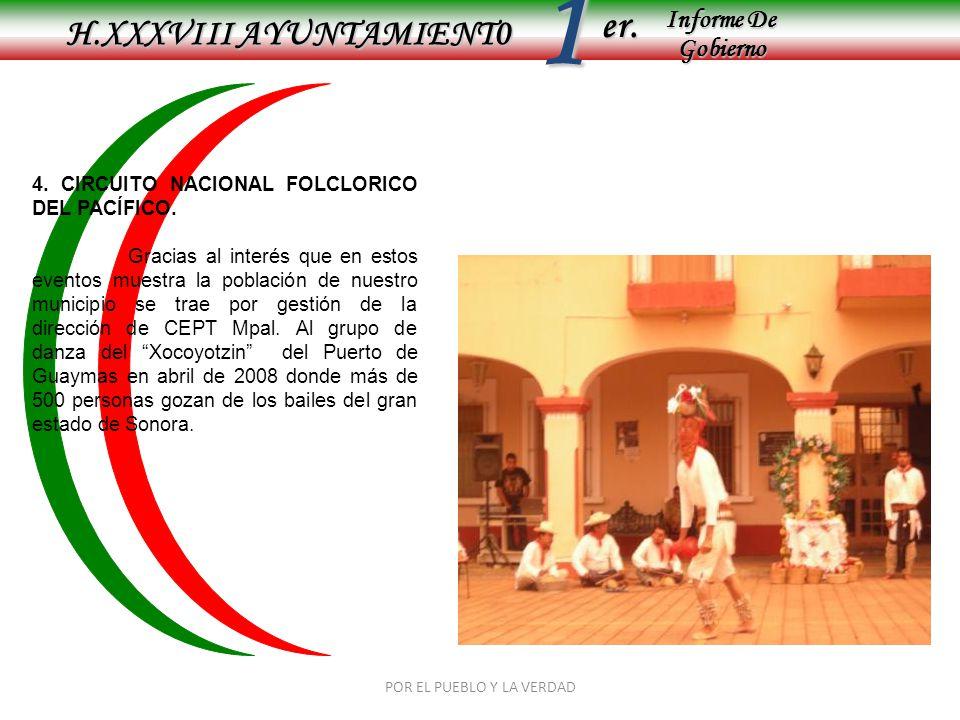 Informe De Gobierno Informe De Gobierno er.1 H.XXXVIII AYUNTAMIENT0 POR EL PUEBLO Y LA VERDAD 4. CIRCUITO NACIONAL FOLCLORICO DEL PACÍFICO. Gracias al