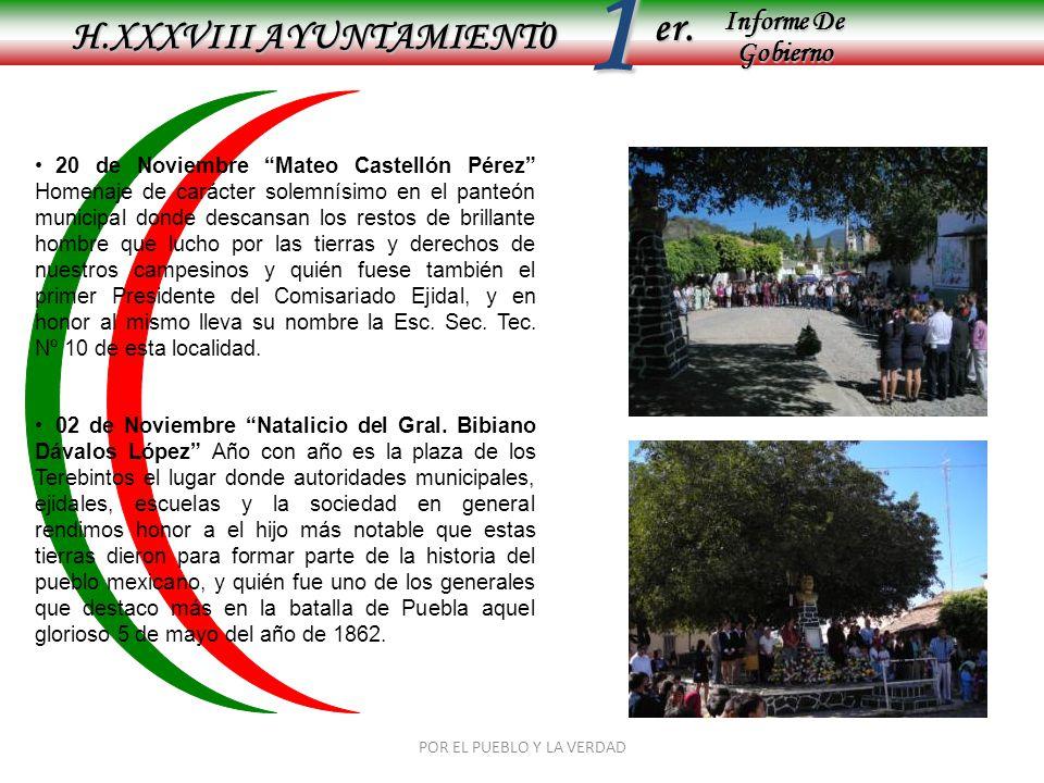 Informe De Gobierno Informe De Gobierno er.1 H.XXXVIII AYUNTAMIENT0 POR EL PUEBLO Y LA VERDAD 20 de Noviembre Mateo Castellón Pérez Homenaje de caráct