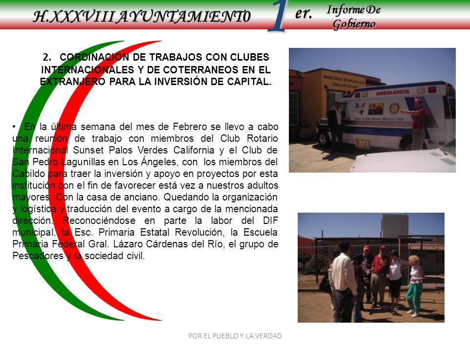 Informe De Gobierno Informe De Gobierno er.1 H.XXXVIII AYUNTAMIENT0 POR EL PUEBLO Y LA VERDAD 2. CORDINACIÓN DE TRABAJOS CON CLUBES INTERNACIONALES Y