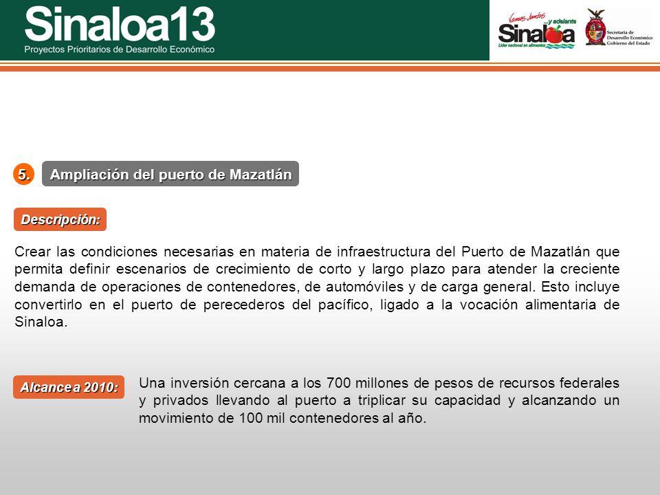 Proyectos Prioritarios de Desarrollo Económico Sinaloa255. Ampliación del puerto de Mazatlán Alcance a 2010: Descripción: Crear las condiciones necesa