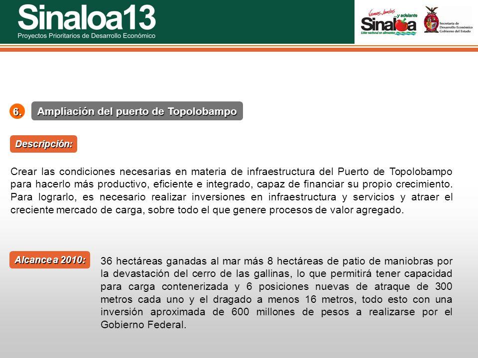 Proyectos Prioritarios de Desarrollo Económico Sinaloa25 Ampliación del puerto de Topolobampo 6. Alcance a 2010: Descripción: Crear las condiciones ne
