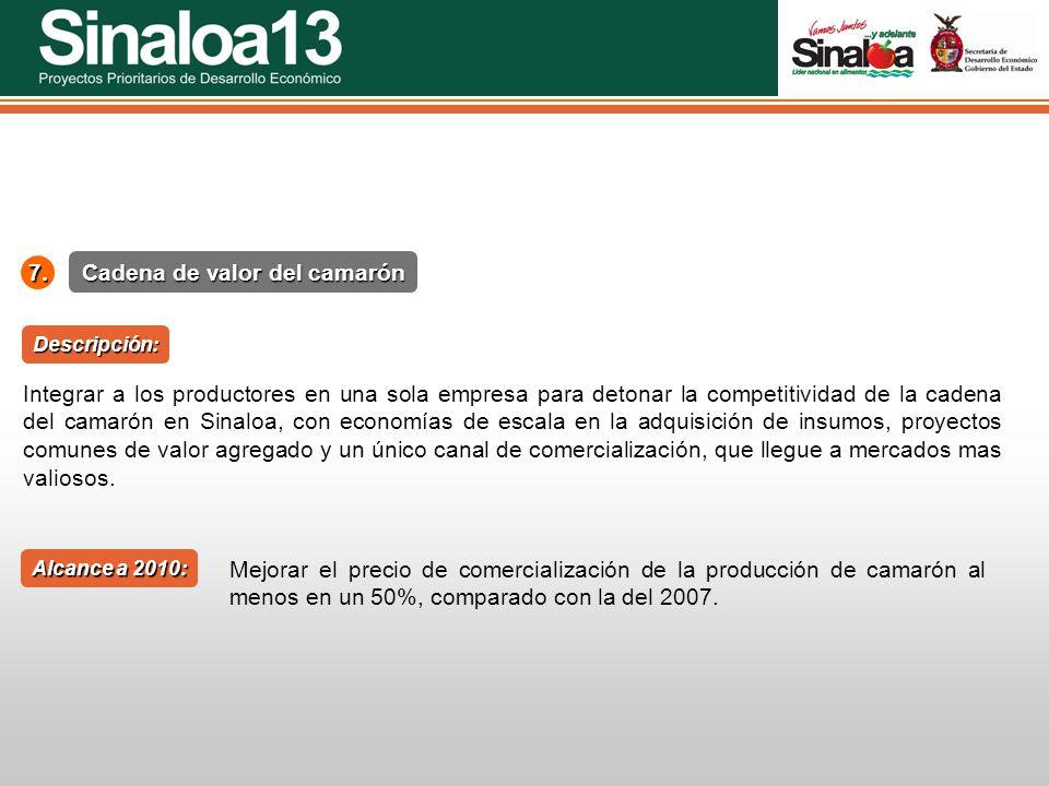 Proyectos Prioritarios de Desarrollo Económico Sinaloa25 Cadena de valor del camarón 7. Alcance a 2010: Descripción: Integrar a los productores en una