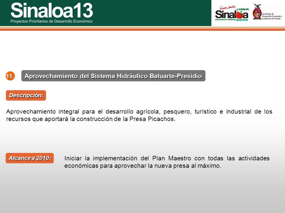 Proyectos Prioritarios de Desarrollo Económico Sinaloa25 Aprovechamiento del Sistema Hidráulico Baluarte-Presidio 11. Aprovechamiento integral para el