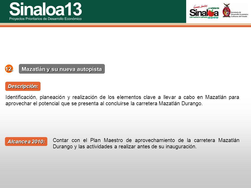Proyectos Prioritarios de Desarrollo Económico Sinaloa25 Mazatlán y su nueva autopista 12. Alcance a 2010: Descripción: Identificación, planeación y r