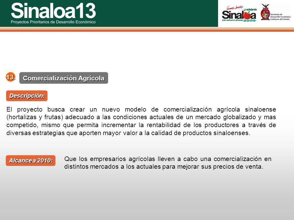 Proyectos Prioritarios de Desarrollo Económico Sinaloa25 Comercialización Agrícola 13. Alcance a 2010: Descripción: El proyecto busca crear un nuevo m