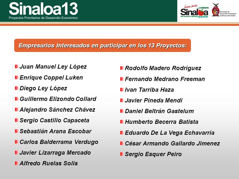 Proyectos Prioritarios de Desarrollo Económico Sinaloa25 Juan Manuel Ley López Enrique Coppel Luken Diego Ley López Guillermo Elizondo Collard Alejand