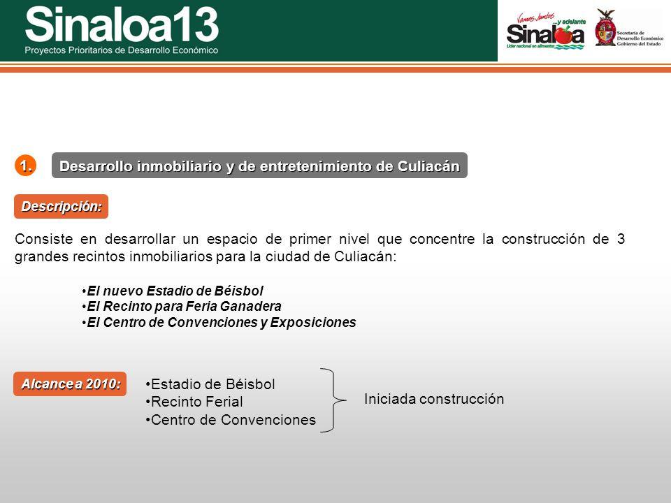 Proyectos Prioritarios de Desarrollo Económico Sinaloa25 Consiste en desarrollar un espacio de primer nivel que concentre la construcción de 3 grandes