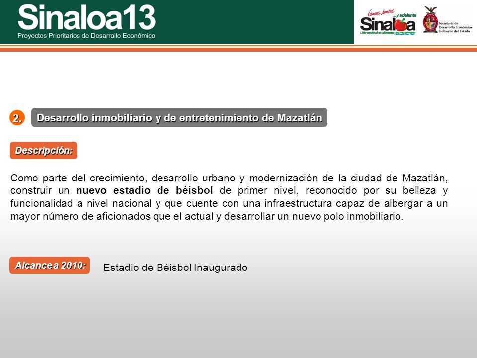 Proyectos Prioritarios de Desarrollo Económico Sinaloa252. Desarrollo inmobiliario y de entretenimiento de Mazatlán Alcance a 2010: Descripción: Como