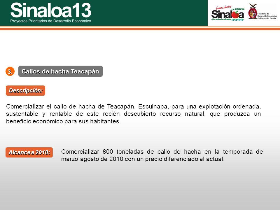 Proyectos Prioritarios de Desarrollo Económico Sinaloa253. Callos de hacha Teacapán Alcance a 2010: Descripción: Comercializar el callo de hacha de Te