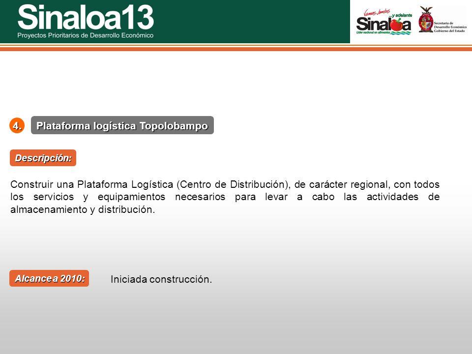 Proyectos Prioritarios de Desarrollo Económico Sinaloa254. Plataforma logística Topolobampo Alcance a 2010: Descripción: Construir una Plataforma Logí