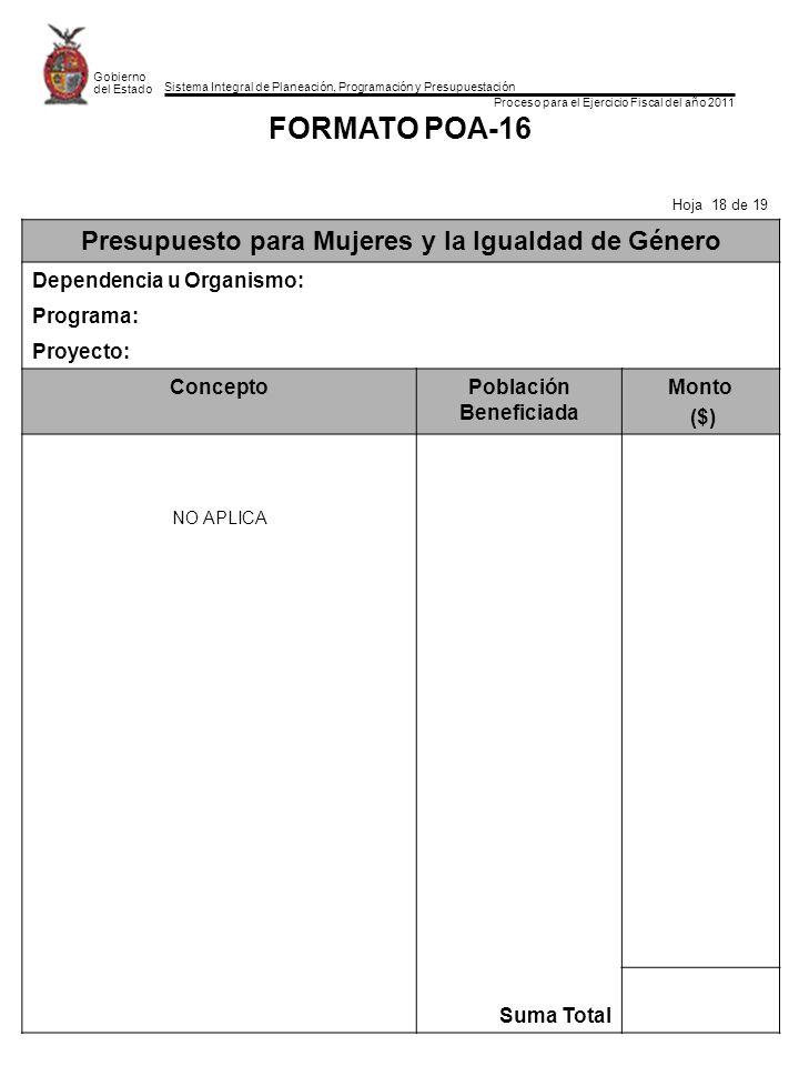 Sistema Integral de Planeación, Programación y Presupuestación Proceso para el Ejercicio Fiscal del año 2011 Gobierno del Estado FORMATO POA-16 Hoja 1