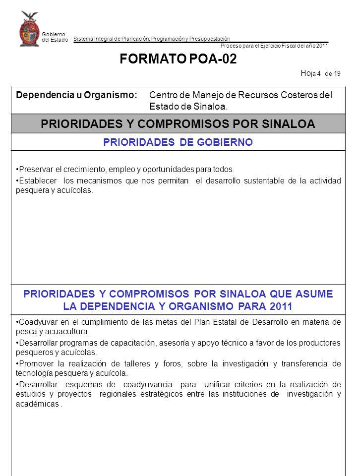 Sistema Integral de Planeación, Programación y Presupuestación Proceso para el Ejercicio Fiscal del año 2011 Gobierno del Estado FORMATO POA-02 Ho ja