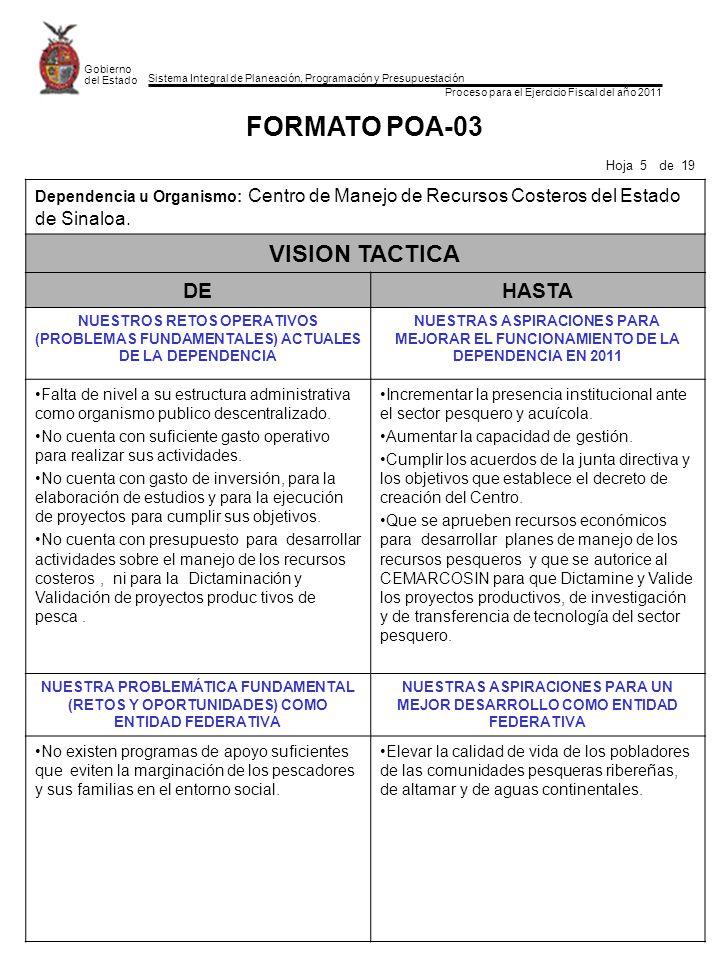 Sistema Integral de Planeación, Programación y Presupuestación Proceso para el Ejercicio Fiscal del año 2011 Gobierno del Estado FORMATO POA-03 Hoja 5