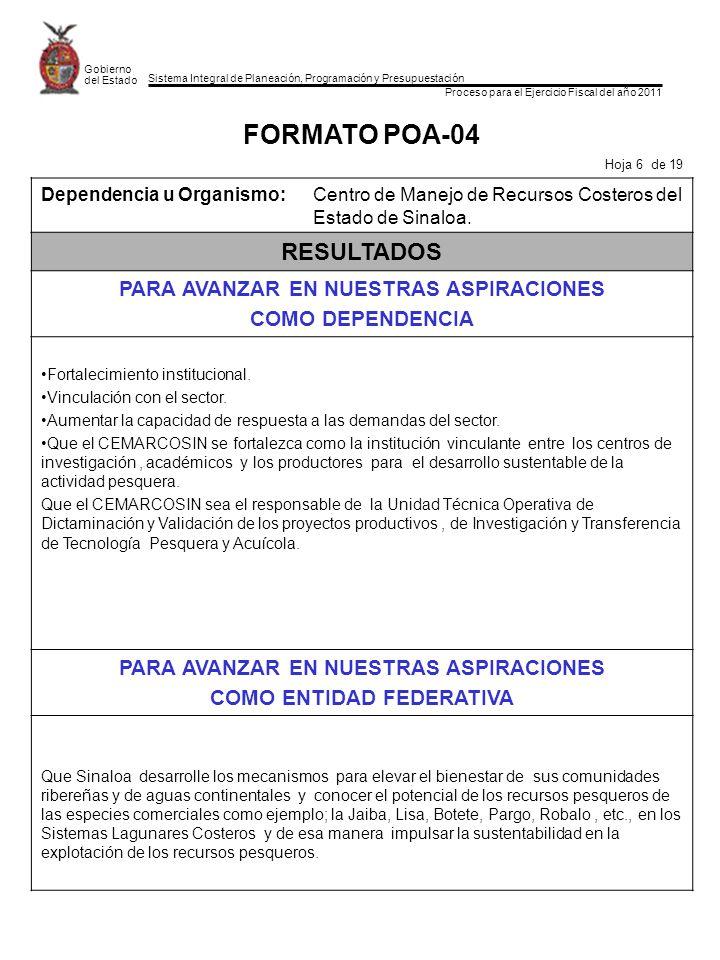 Sistema Integral de Planeación, Programación y Presupuestación Proceso para el Ejercicio Fiscal del año 2011 Gobierno del Estado FORMATO POA-04 Hoja 6