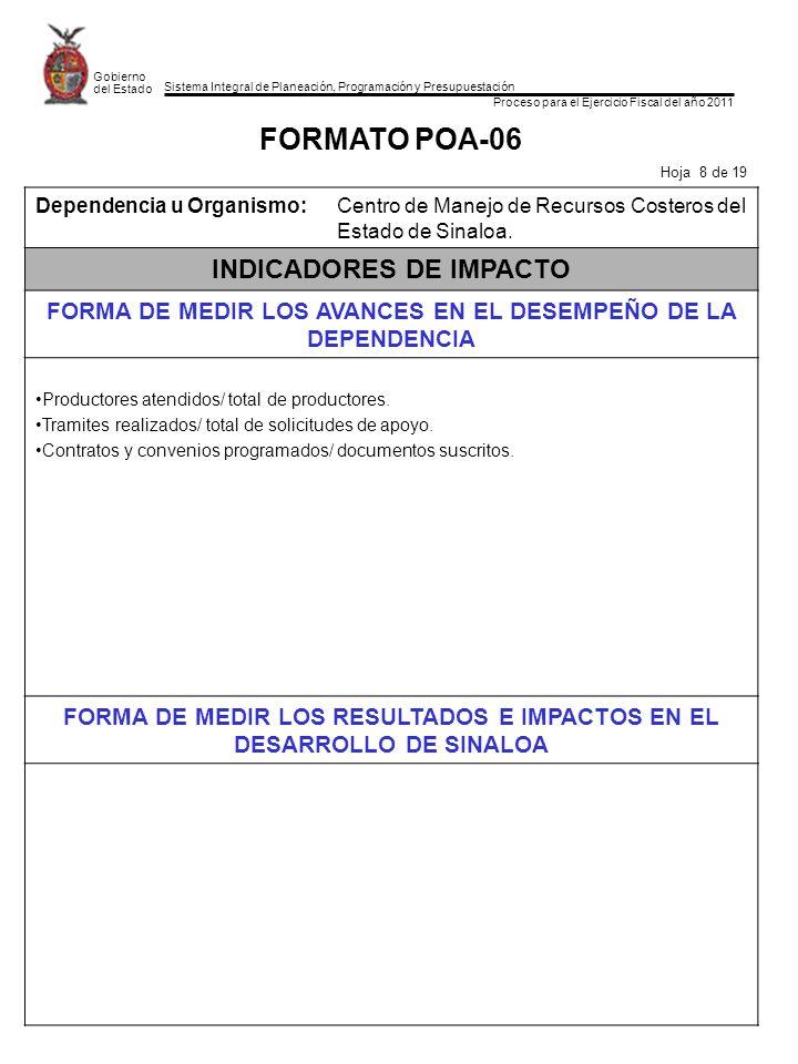 Sistema Integral de Planeación, Programación y Presupuestación Proceso para el Ejercicio Fiscal del año 2011 Gobierno del Estado FORMATO POA-06 Hoja 8