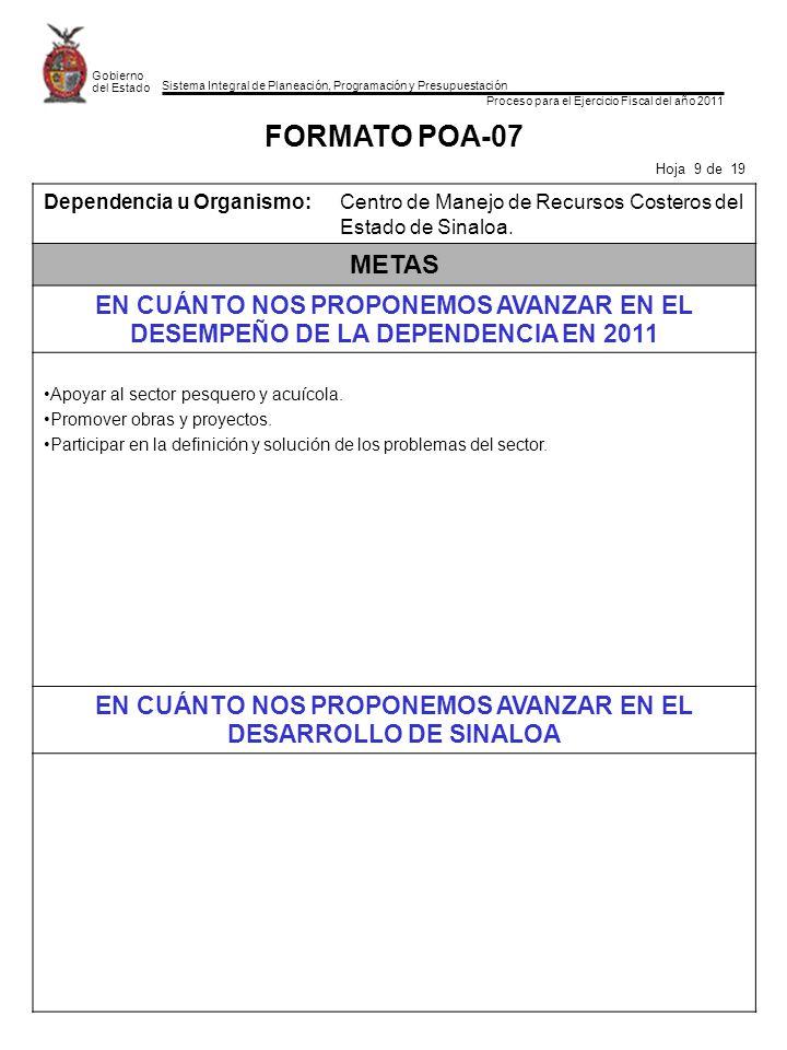 Sistema Integral de Planeación, Programación y Presupuestación Proceso para el Ejercicio Fiscal del año 2011 Gobierno del Estado FORMATO POA-07 Hoja 9
