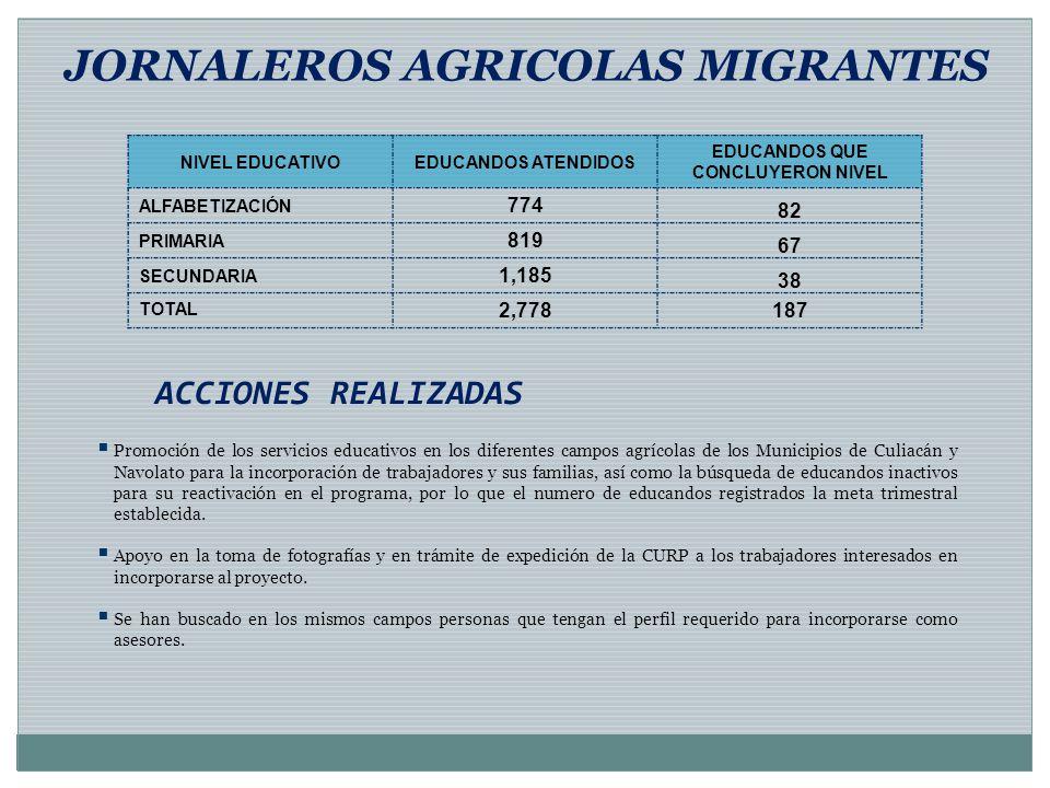 ACCIONES REALIZADAS JORNALEROS AGRICOLAS MIGRANTES Promoción de los servicios educativos en los diferentes campos agrícolas de los Municipios de Culia